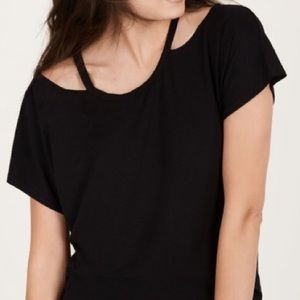 Stella and dot Black Maette Willow cutout Top